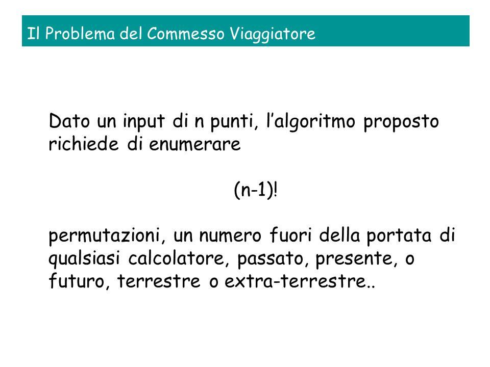 Il Problema del Commesso Viaggiatore Dato un input di n punti, lalgoritmo proposto richiede di enumerare (n-1).