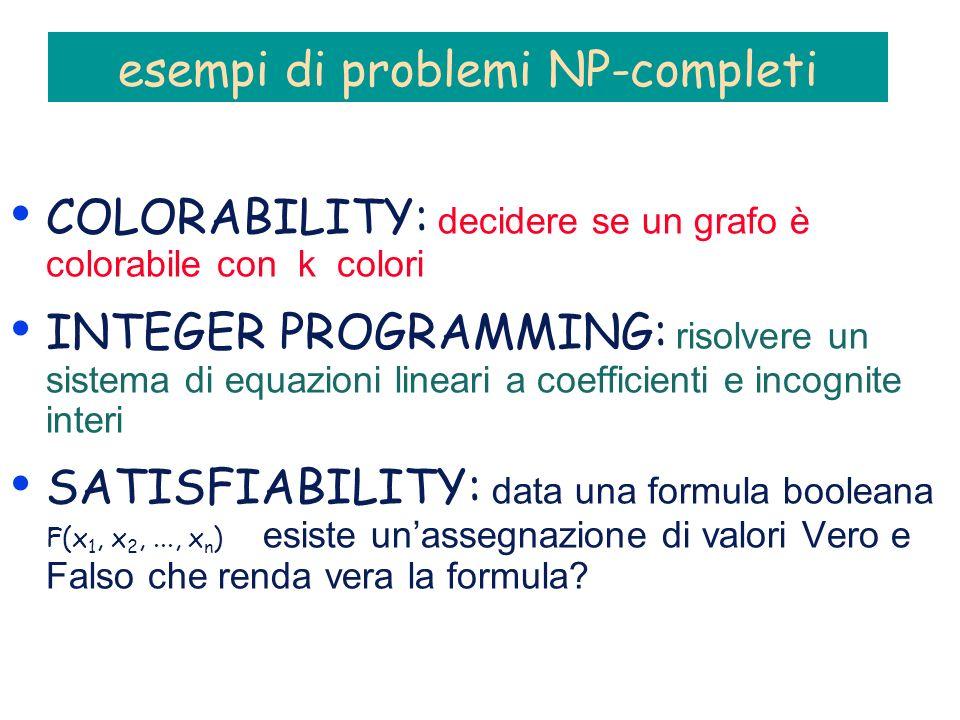 esempi di problemi NP-completi COLORABILITY: decidere se un grafo è colorabile con k colori INTEGER PROGRAMMING: risolvere un sistema di equazioni lineari a coefficienti e incognite interi SATISFIABILITY: data una formula booleana F(x 1, x 2,..., x n ) esiste unassegnazione di valori Vero e Falso che renda vera la formula?