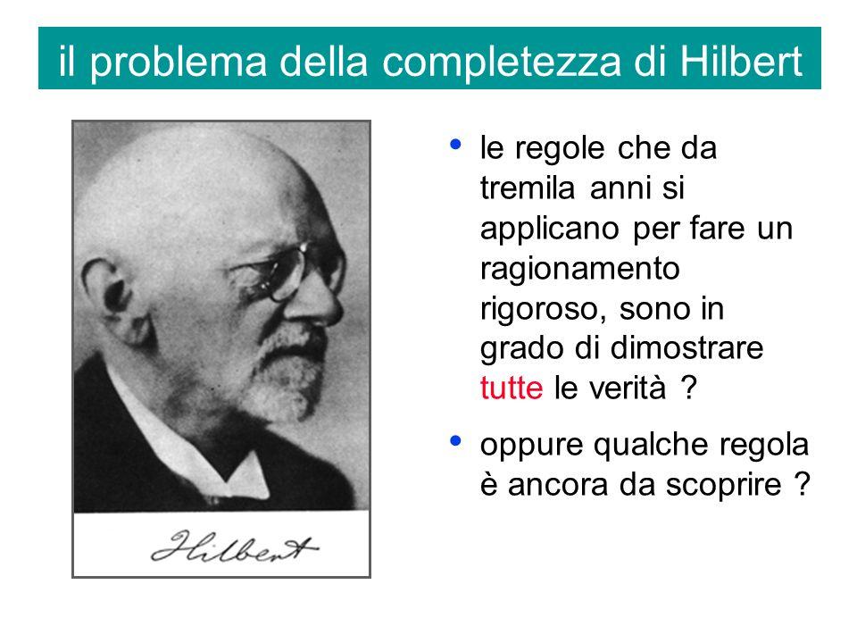il problema della completezza di Hilbert le regole che da tremila anni si applicano per fare un ragionamento rigoroso, sono in grado di dimostrare tutte le verità .