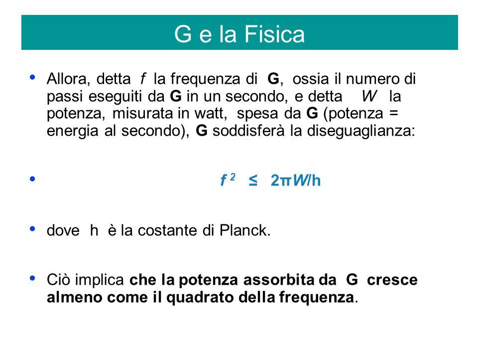 Allora, detta f la frequenza di G, ossia il numero di passi eseguiti da G in un secondo, e detta W la potenza, misurata in watt, spesa da G (potenza = energia al secondo), G soddisferà la diseguaglianza: f 2 2πW/h dove h è la costante di Planck.
