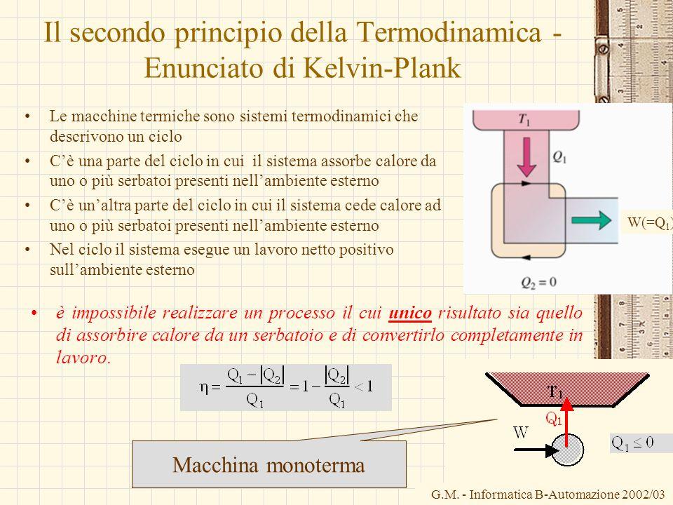 G.M. - Informatica B-Automazione 2002/03 Il secondo principio della Termodinamica - Enunciato di Kelvin-Plank Le macchine termiche sono sistemi termod