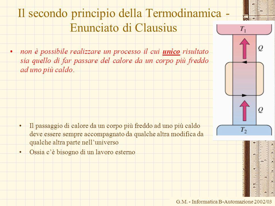 G.M. - Informatica B-Automazione 2002/03 Il secondo principio della Termodinamica - Enunciato di Clausius non è possibile realizzare un processo il cu