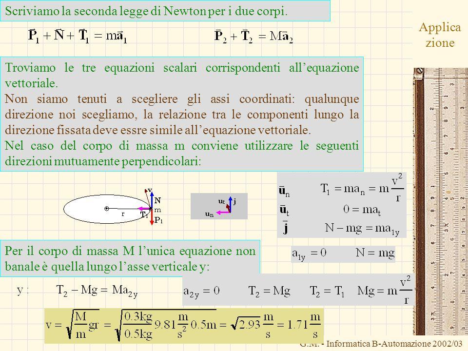 G.M. - Informatica B-Automazione 2002/03 Applica zione Scriviamo la seconda legge di Newton per i due corpi. Troviamo le tre equazioni scalari corrisp