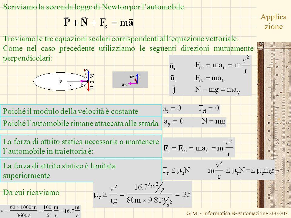 G.M. - Informatica B-Automazione 2002/03 Applica zione Scriviamo la seconda legge di Newton per lautomobile. Troviamo le tre equazioni scalari corrisp