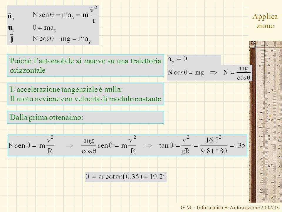 G.M. - Informatica B-Automazione 2002/03 Applica zione Poiché lautomobile si muove su una traiettoria orizzontale Laccelerazione tangenziale è nulla: