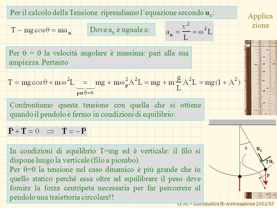 G.M. - Informatica B-Automazione 2002/03 Applica zione Per il calcolo della Tensione riprendiamo lequazione secondo u n : Dove a n è uguale a: unun ut