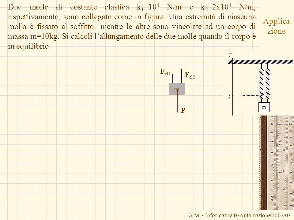 G.M. - Informatica B-Automazione 2002/03 Applica zione Due molle di costante elastica k 1 =10 4 N/m e k 2 =2x10 4 N/m, rispettivamente, sono collegate