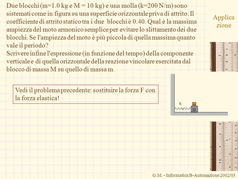G.M. - Informatica B-Automazione 2002/03 Applica zione Due blocchi (m=1.0 kg e M = 10 kg) e una molla (k=200 N/m) sono sistemati come in figura su una
