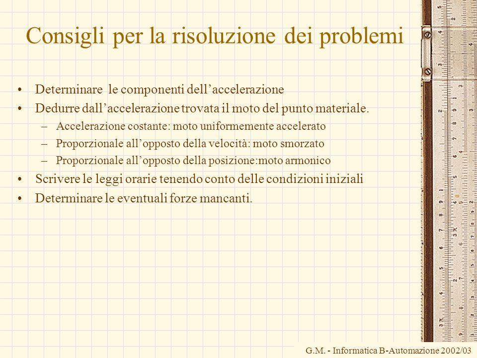 G.M. - Informatica B-Automazione 2002/03 Consigli per la risoluzione dei problemi Determinare le componenti dellaccelerazione Dedurre dallaccelerazion