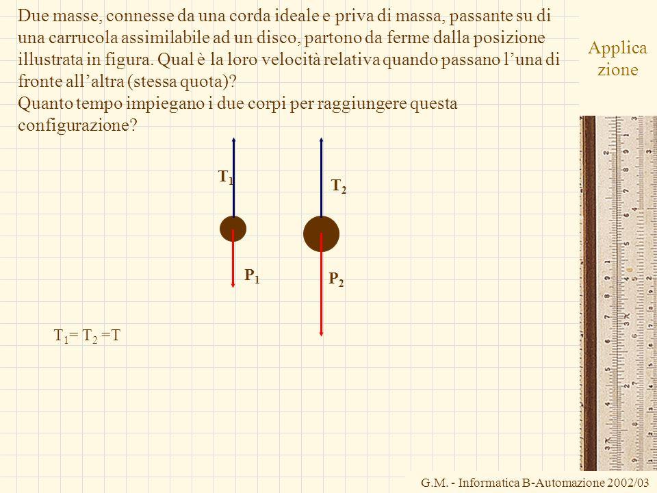G.M. - Informatica B-Automazione 2002/03 Applica zione Due masse, connesse da una corda ideale e priva di massa, passante su di una carrucola assimila