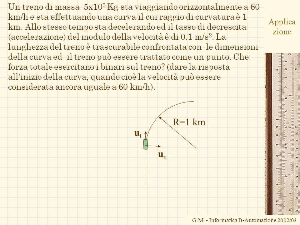 G.M. - Informatica B-Automazione 2002/03 Applica zione Un treno di massa 5x10 5 Kg sta viaggiando orizzontalmente a 60 km/h e sta effettuando una curv