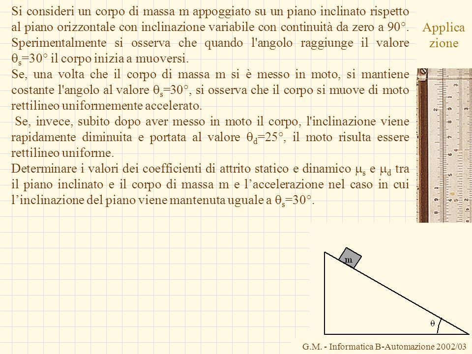 G.M. - Informatica B-Automazione 2002/03 Applica zione Si consideri un corpo di massa m appoggiato su un piano inclinato rispetto al piano orizzontale
