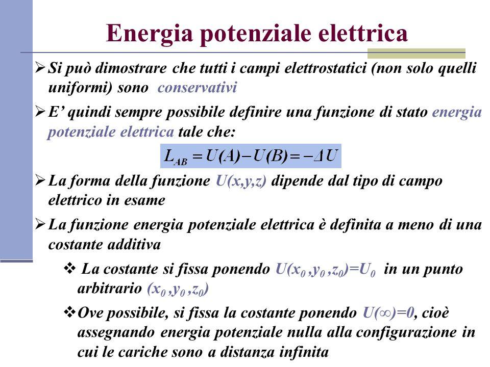 Energia potenziale elettrica Si può dimostrare che tutti i campi elettrostatici (non solo quelli uniformi) sono conservativi E quindi sempre possibile