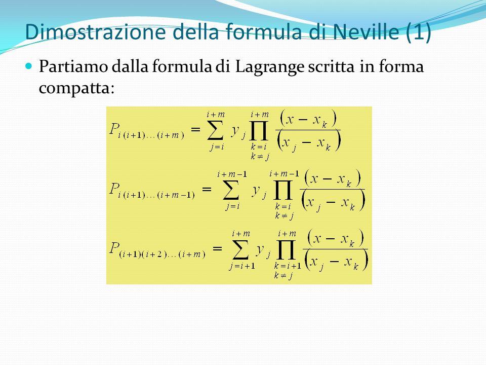 Dimostrazione della formula di Neville (1) Partiamo dalla formula di Lagrange scritta in forma compatta: