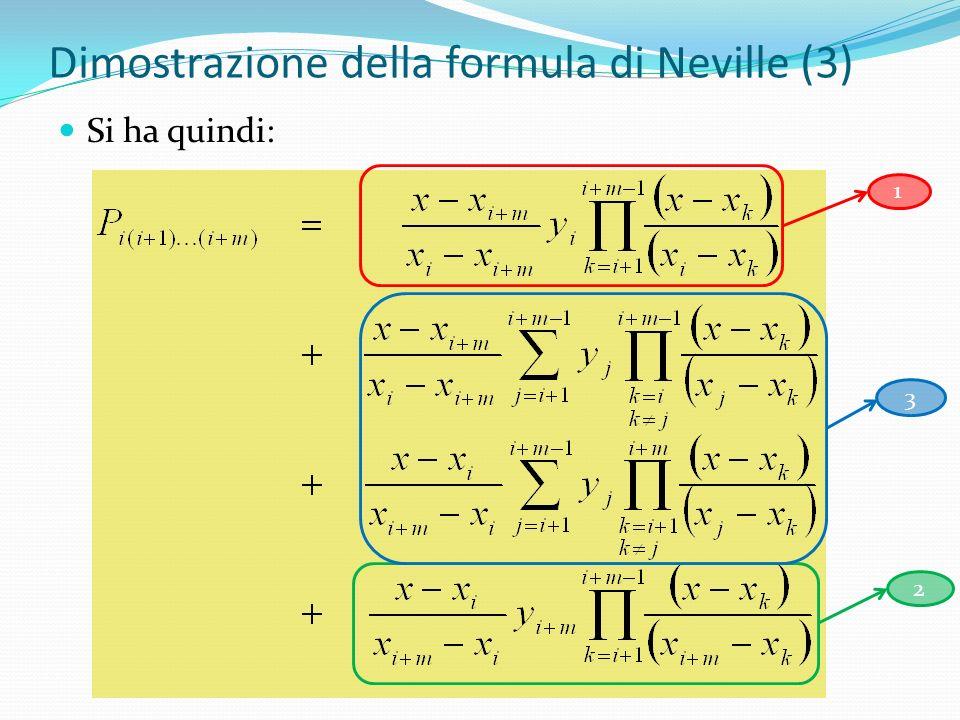 Dimostrazione della formula di Neville (3) Si ha quindi: 12 3