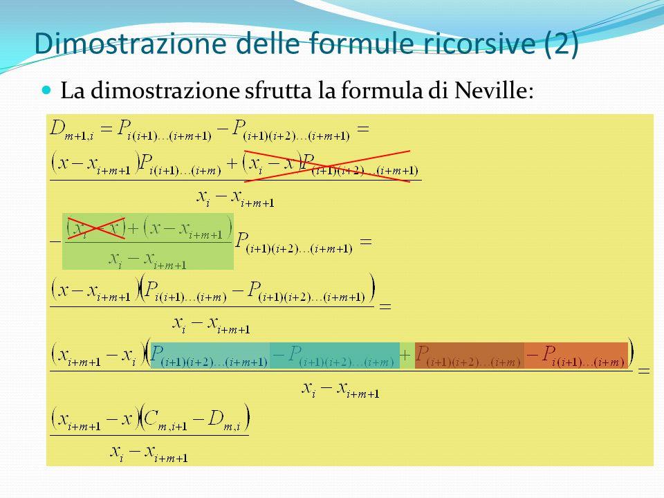 Dimostrazione delle formule ricorsive (2) La dimostrazione sfrutta la formula di Neville: