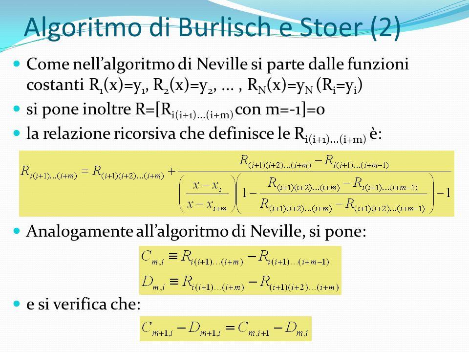 Algoritmo di Burlisch e Stoer (2) Come nellalgoritmo di Neville si parte dalle funzioni costanti R 1 (x)=y 1, R 2 (x)=y 2,..., R N (x)=y N (R i =y i ) si pone inoltre R=[R i(i+1)...(i+m) con m=-1]=0 la relazione ricorsiva che definisce le R i(i+1)...(i+m) è: Analogamente allalgoritmo di Neville, si pone: e si verifica che: