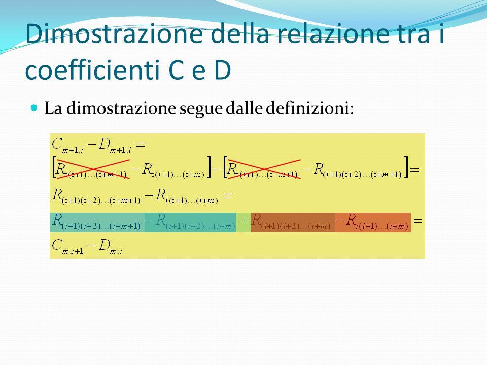 Dimostrazione della relazione tra i coefficienti C e D La dimostrazione segue dalle definizioni: