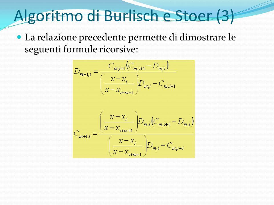 Algoritmo di Burlisch e Stoer (3) La relazione precedente permette di dimostrare le seguenti formule ricorsive: