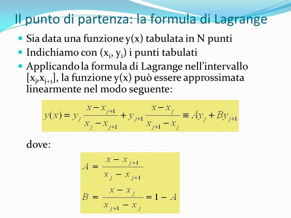 Il punto di partenza: la formula di Lagrange Sia data una funzione y(x) tabulata in N punti Indichiamo con (x i, y i ) i punti tabulati Applicando la formula di Lagrange nellintervallo [x j,x j+1 ], la funzione y(x) può essere approssimata linearmente nel modo seguente: dove: