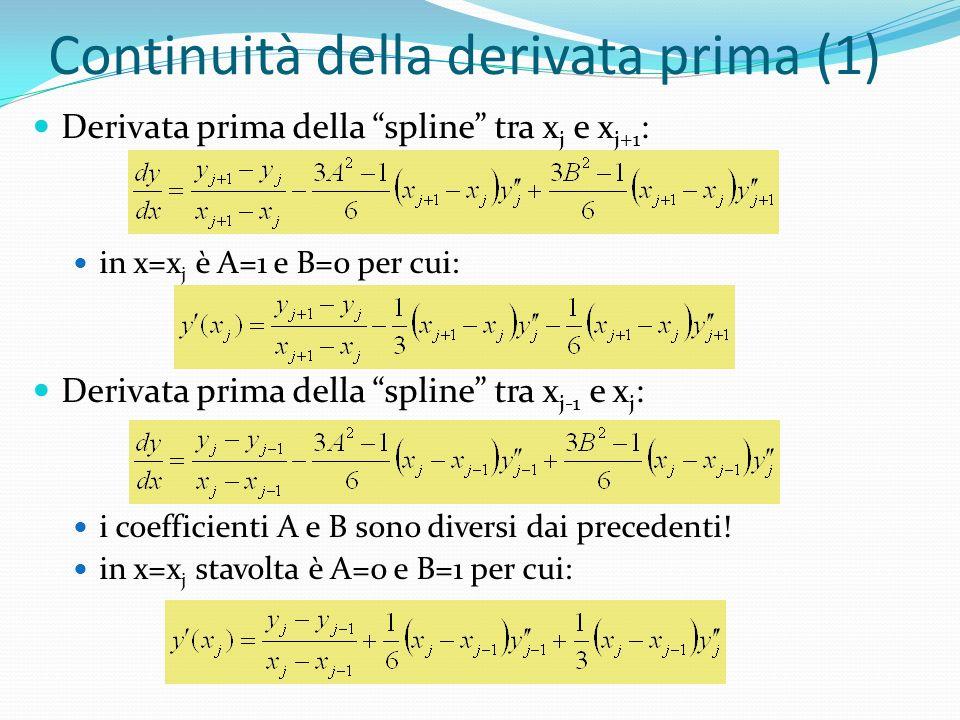 Continuità della derivata prima (1) Derivata prima della spline tra x j e x j+1 : in x=x j è A=1 e B=0 per cui: Derivata prima della spline tra x j-1