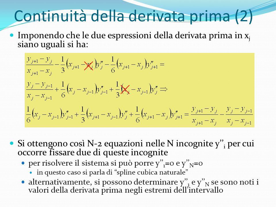 Continuità della derivata prima (2) Imponendo che le due espressioni della derivata prima in x j siano uguali si ha: Si ottengono così N-2 equazioni nelle N incognite y i per cui occorre fissare due di queste incognite per risolvere il sistema si può porre y 1 =0 e y N =0 in questo caso si parla di spline cubica naturale alternativamente, si possono determinare y 1 e y N se sono noti i valori della derivata prima negli estremi dellintervallo