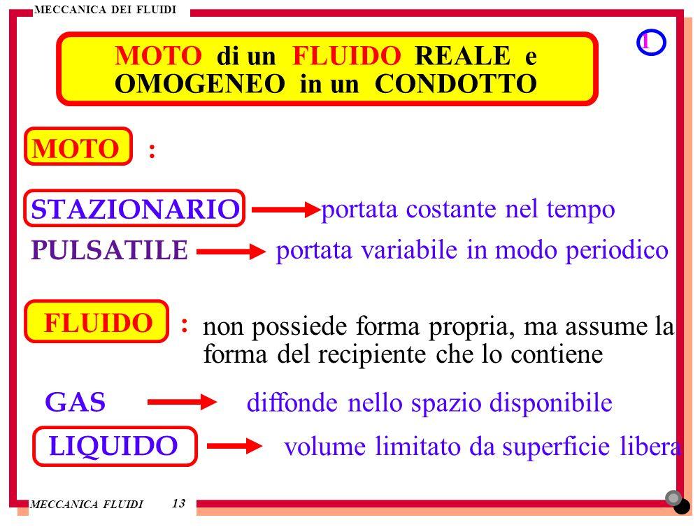 MECCANICA DEI FLUIDI MECCANICA FLUIDI MOTO di un FLUIDO REALE e OMOGENEO in un CONDOTTO 1 13 MOTO : STAZIONARIO portata costante nel tempo PULSATILE p