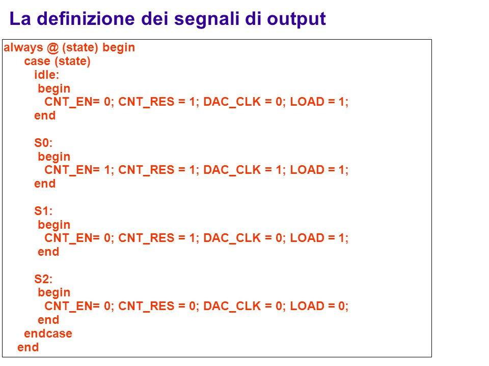 La definizione dei segnali di output always @ (state) begin case (state) idle: begin CNT_EN= 0; CNT_RES = 1; DAC_CLK = 0; LOAD = 1; end S0: begin CNT_EN= 1; CNT_RES = 1; DAC_CLK = 1; LOAD = 1; end S1: begin CNT_EN= 0; CNT_RES = 1; DAC_CLK = 0; LOAD = 1; end S2: begin CNT_EN= 0; CNT_RES = 0; DAC_CLK = 0; LOAD = 0; end endcase end