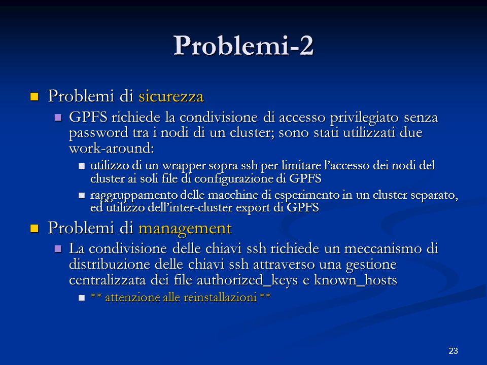 23 Problemi-2 Problemi di sicurezza Problemi di sicurezza GPFS richiede la condivisione di accesso privilegiato senza password tra i nodi di un cluste