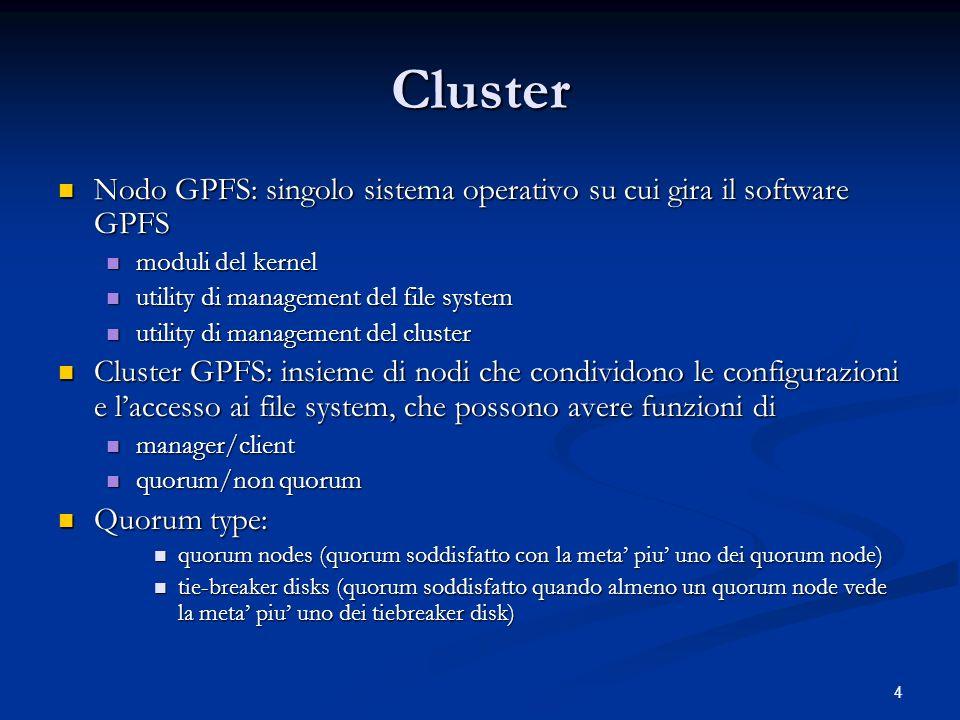 15 Upgrade on line La ridondanza e stata sfruttata per operare un upgrade di versione di GPFS e di kernel senza perdita di funzionalita La ridondanza e stata sfruttata per operare un upgrade di versione di GPFS e di kernel senza perdita di funzionalita Linfrastruttura costituita da 3 NSD server (e quorum node), con tutte le NSD esportate via primario e secondario, circa 40 client Linfrastruttura costituita da 3 NSD server (e quorum node), con tutte le NSD esportate via primario e secondario, circa 40 client GPFS accetta la dissincronizzazione delle versioni nello stesso cluster GPFS accetta la dissincronizzazione delle versioni nello stesso cluster il GPFS team di IBM suggerisce caldamente di non protrarre questa situazione a lungo il GPFS team di IBM suggerisce caldamente di non protrarre questa situazione a lungo La migrazione effettuata con un nodo per volta (con rimozione dal cluster e successivo reinserimento) non ha portato a perdita di funzionalita: ciascun nodo ha mantenuto sempre la visibilita dei file system - con la sola eccezione del proprio reboot La migrazione effettuata con un nodo per volta (con rimozione dal cluster e successivo reinserimento) non ha portato a perdita di funzionalita: ciascun nodo ha mantenuto sempre la visibilita dei file system - con la sola eccezione del proprio reboot