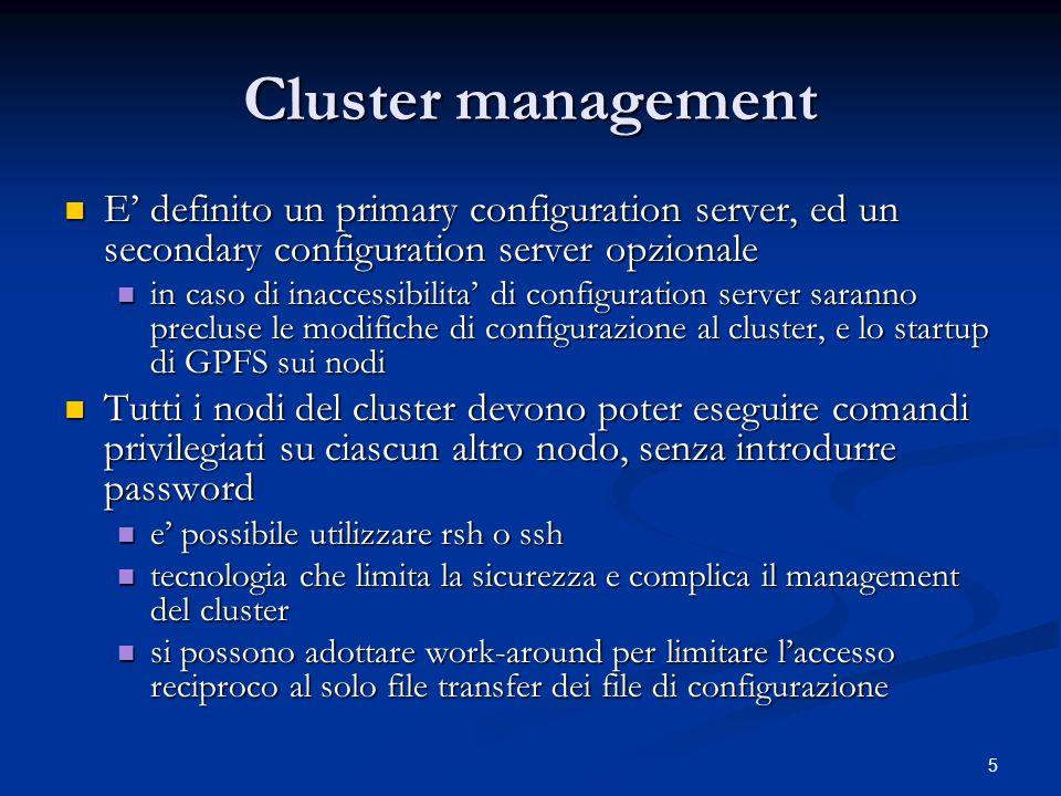 26 GPFS@INFN - 2 INFN-GE INFN-GE Volumi di farm, esperimento, servizi centrali (home dir, web), GRID, backup Volumi di farm, esperimento, servizi centrali (home dir, web), GRID, backup Disco FC 20 TB + 2 box controller 3ware (6 TB) Disco FC 20 TB + 2 box controller 3ware (6 TB) Tre cluster (centrale, di esperimento, backup), 5 +2 NSD server Tre cluster (centrale, di esperimento, backup), 5 +2 NSD server 40 GPFS client sul cluster centrale 40 GPFS client sul cluster centrale Export dei volumi via inter-cluster GPFS, NFS e samba Export dei volumi via inter-cluster GPFS, NFS e samba GPFS release 2.3.0-11 su kernel 2.4 e kernel 2.6 (32 e 64 bit) sul cluster centrale GPFS release 2.3.0-11 su kernel 2.4 e kernel 2.6 (32 e 64 bit) sul cluster centrale