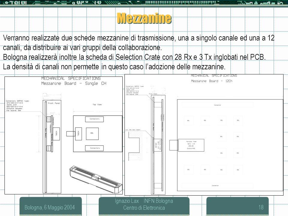 Bologna, 6 Maggio 2004 Ignazio Lax INFN Bologna Centro di Elettronica18 Mezzanine Verranno realizzate due schede mezzanine di trasmissione, una a sing