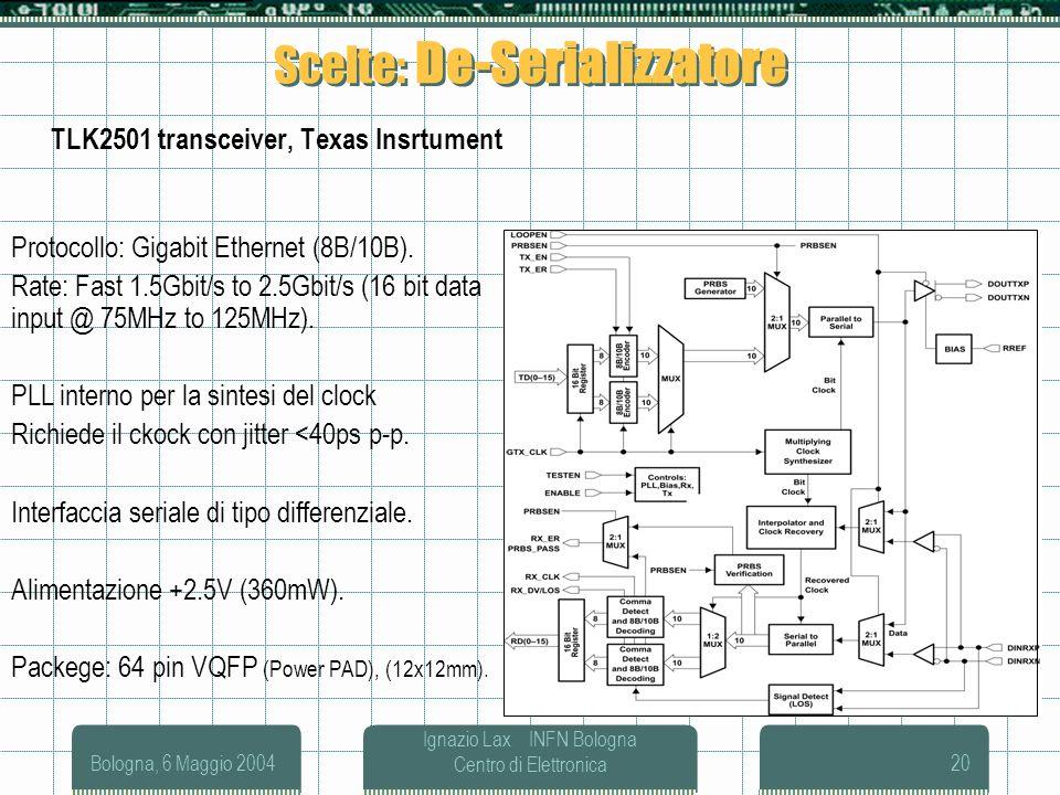 Bologna, 6 Maggio 2004 Ignazio Lax INFN Bologna Centro di Elettronica20 Scelte: De-Serializzatore TLK2501 transceiver, Texas Insrtument Protocollo: Gi