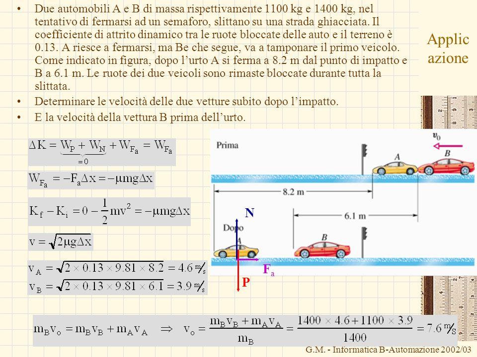 G.M. - Informatica B-Automazione 2002/03 Applic azione Due automobili A e B di massa rispettivamente 1100 kg e 1400 kg, nel tentativo di fermarsi ad u