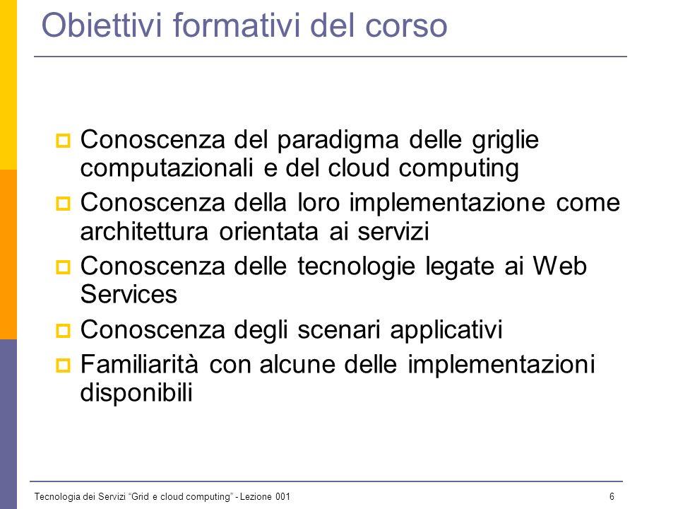 Tecnologia dei Servizi Grid e cloud computing - Lezione 001 5 Materiale Didattico Presentazioni usate per le lezioni ( da considerare come compendio a
