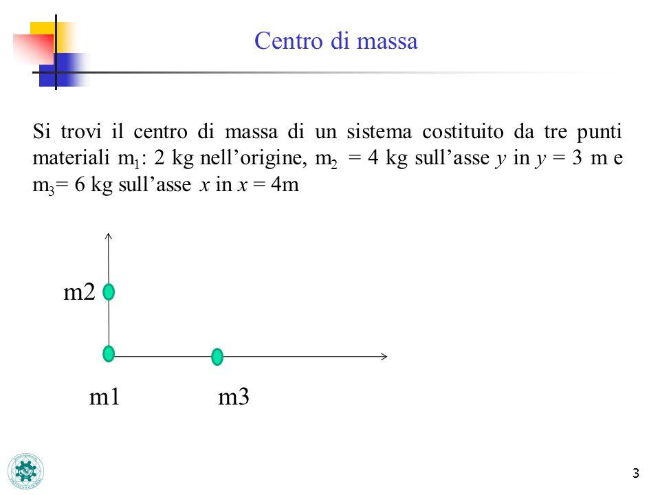 3 Centro di massa Si trovi il centro di massa di un sistema costituito da tre punti materiali m 1 : 2 kg nellorigine, m 2 = 4 kg sullasse y in y = 3 m e m 3 = 6 kg sullasse x in x = 4m m3m1 m2