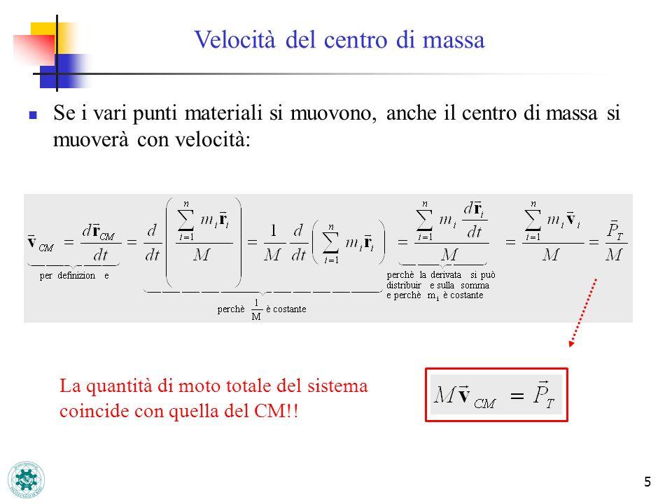 5 Velocità del centro di massa Se i vari punti materiali si muovono, anche il centro di massa si muoverà con velocità: La quantità di moto totale del sistema coincide con quella del CM!!