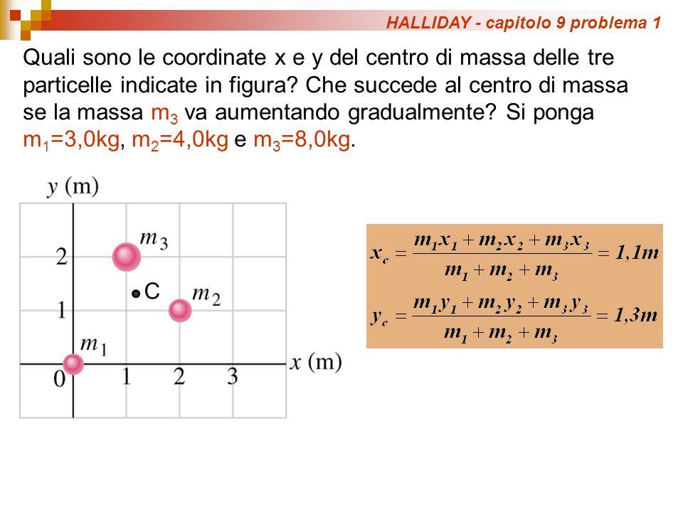 HALLIDAY - capitolo 9 problema 1 Quali sono le coordinate x e y del centro di massa delle tre particelle indicate in figura? Che succede al centro di