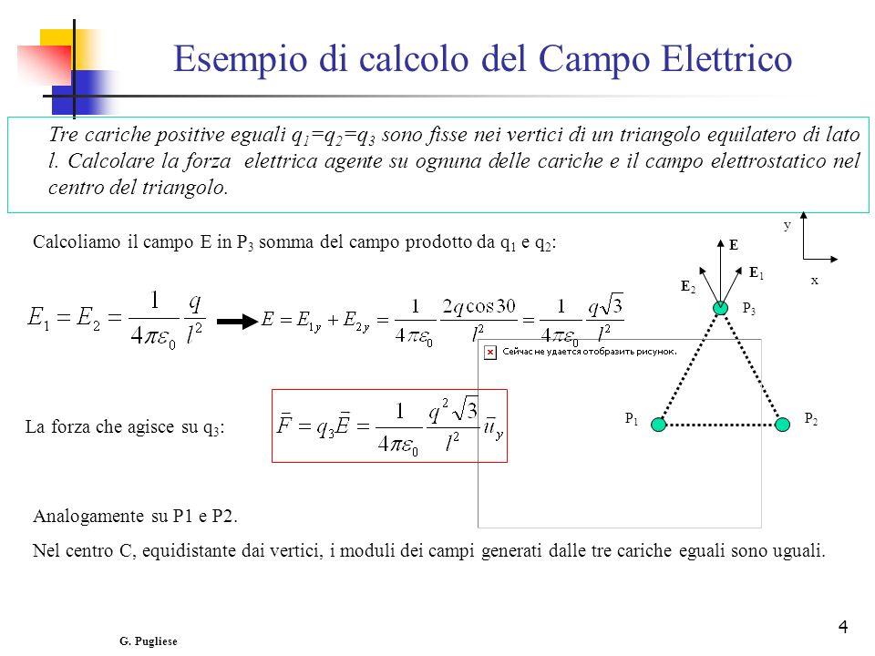 4 Esempio di calcolo del Campo Elettrico Tre cariche positive eguali q 1 =q 2 =q 3 sono fisse nei vertici di un triangolo equilatero di lato l.