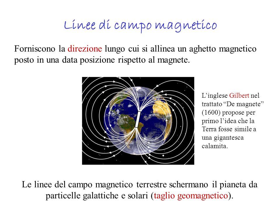 Linee di campo magnetico Forniscono la direzione lungo cui si allinea un aghetto magnetico posto in una data posizione rispetto al magnete. Le linee d