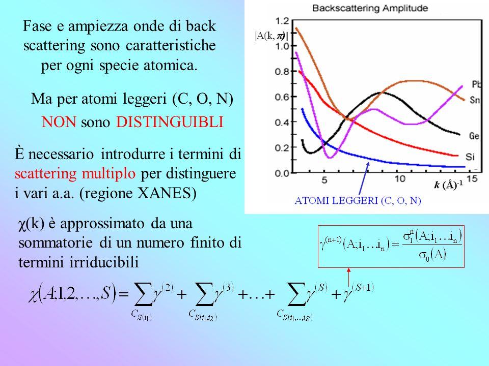 Fase e ampiezza onde di back scattering sono caratteristiche per ogni specie atomica.
