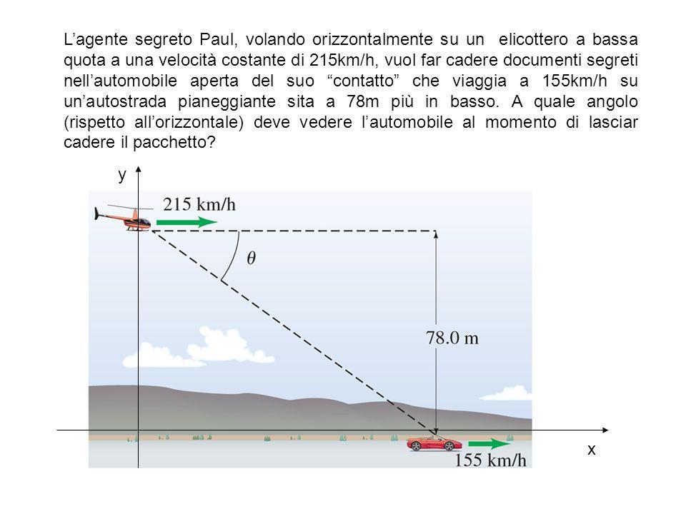Lagente segreto Paul, volando orizzontalmente su un elicottero a bassa quota a una velocità costante di 215km/h, vuol far cadere documenti segreti nel