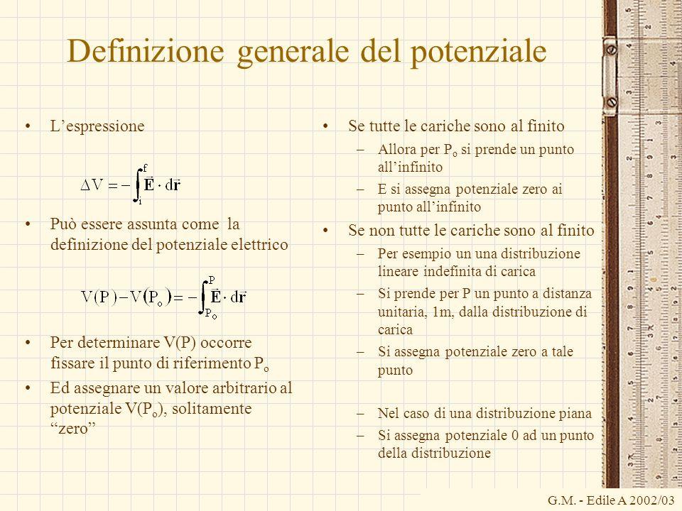 G.M. - Edile A 2002/03 Definizione generale del potenziale Lespressione Può essere assunta come la definizione del potenziale elettrico Per determinar