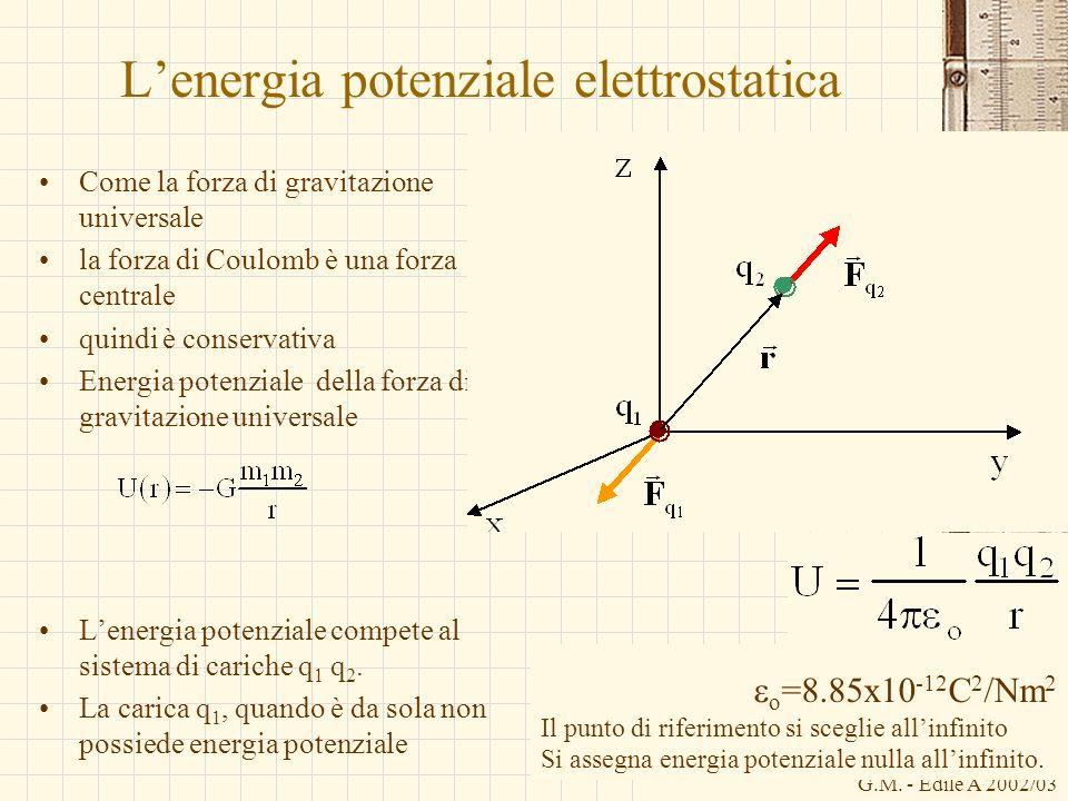 G.M. - Edile A 2002/03 Lenergia potenziale elettrostatica Come la forza di gravitazione universale la forza di Coulomb è una forza centrale quindi è c