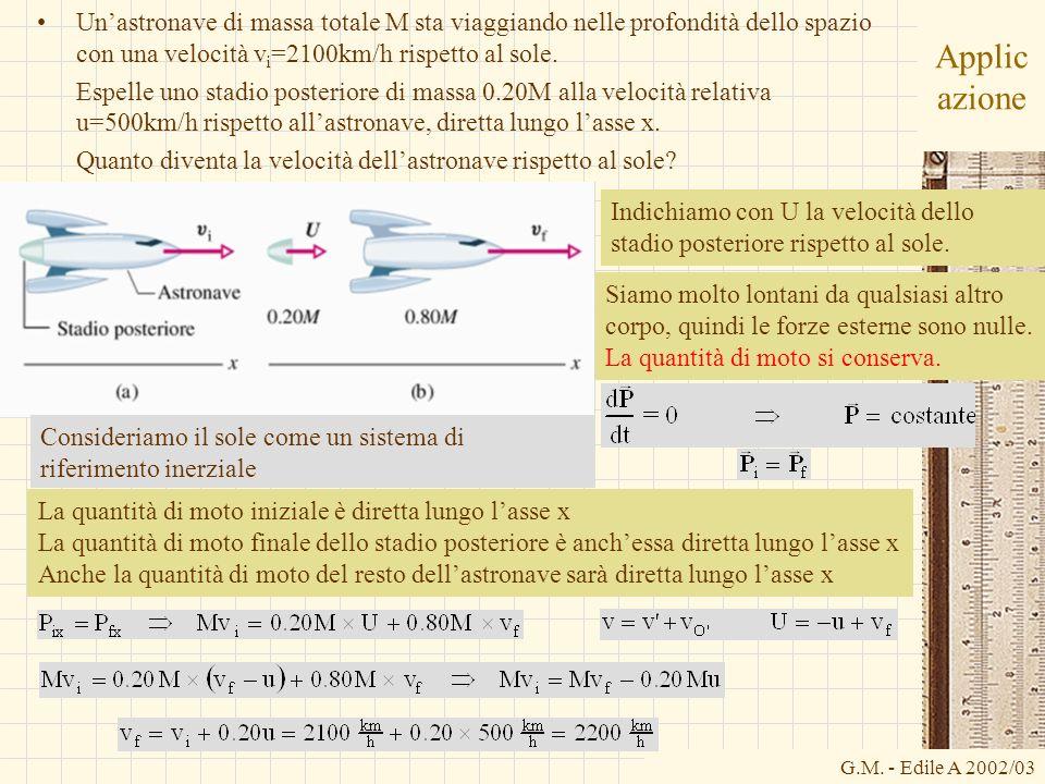 G.M. - Edile A 2002/03 Applic azione Unastronave di massa totale M sta viaggiando nelle profondità dello spazio con una velocità v i =2100km/h rispett