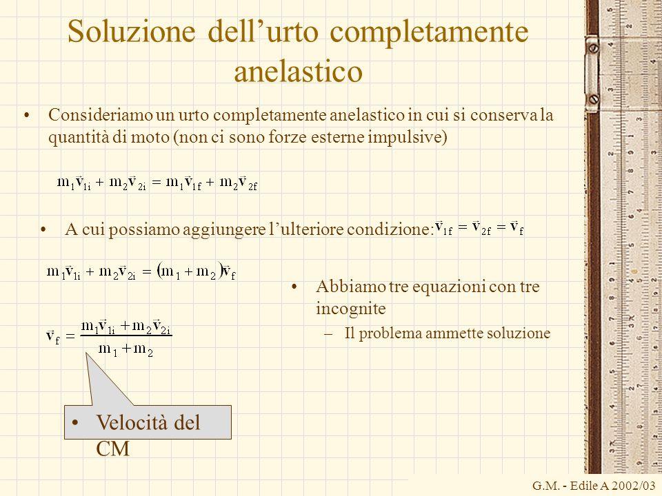 G.M. - Edile A 2002/03 Soluzione dellurto completamente anelastico Consideriamo un urto completamente anelastico in cui si conserva la quantità di mot