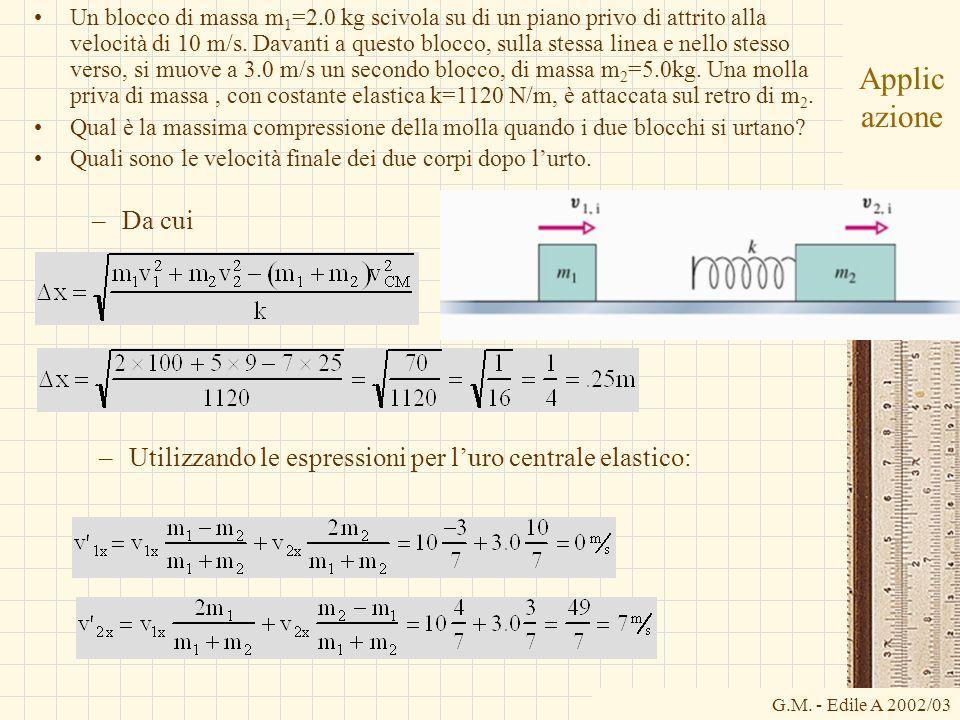 G.M. - Edile A 2002/03 Applic azione Un blocco di massa m 1 =2.0 kg scivola su di un piano privo di attrito alla velocità di 10 m/s. Davanti a questo