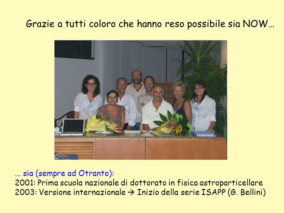 Grazie a tutti coloro che hanno reso possibile sia NOW…... sia (sempre ad Otranto): 2001: Prima scuola nazionale di dottorato in fisica astroparticell