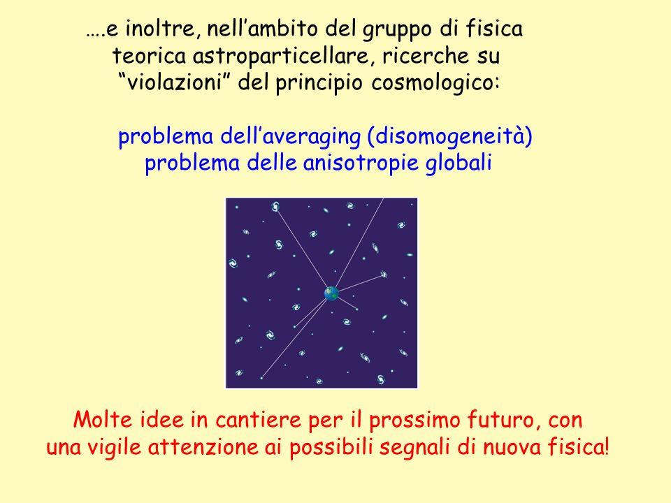 ….e inoltre, nellambito del gruppo di fisica teorica astroparticellare, ricerche su violazioni del principio cosmologico: problema dellaveraging (diso