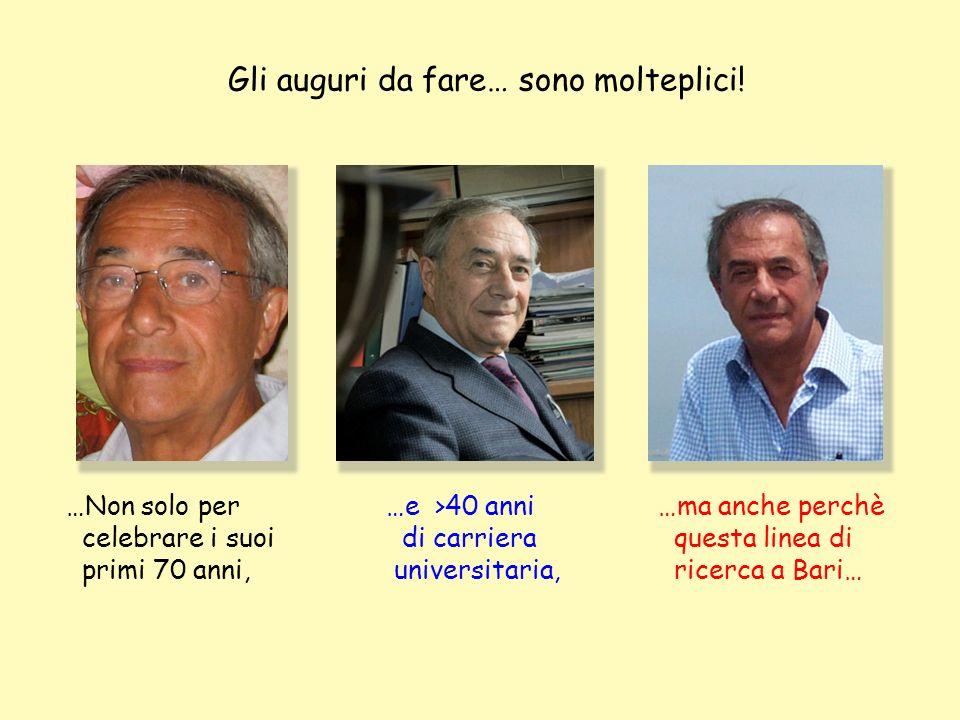 …Non solo per celebrare i suoi primi 70 anni, Gli auguri da fare… sono molteplici! …ma anche perchè questa linea di ricerca a Bari… …e >40 anni di car
